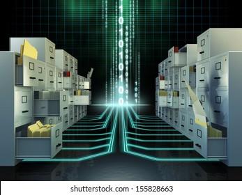 File cabinets in a digital space. Digital illustration.