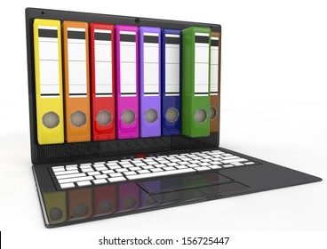 file in database - laptop with colored ring binders, 3d image