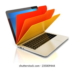 file in database - laptop and folders