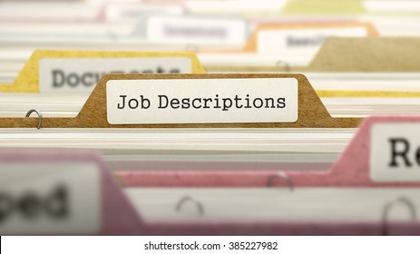 File Folder Labeled as Job Descriptions in Multicolor Archive. Closeup View. Blurred Image. 3D Render.