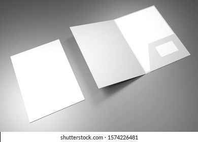File folder mockup - front cover and opened - 3D rendering