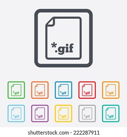 File GIF sign icon. Download image file symbol. Round squares buttons with frame.