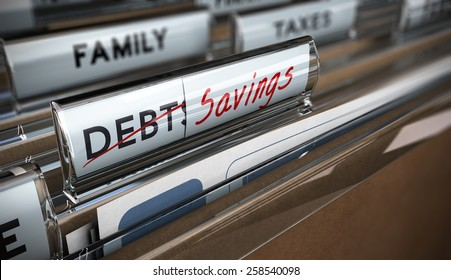File tab with focus on savings. Conceptual image for illustration of debt vs savings