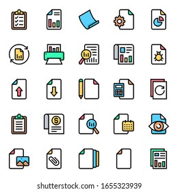 Files - Filled color outline icons.
