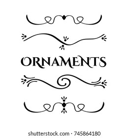 Filigree swirly ornaments. Ornamental caligraphy embellishment