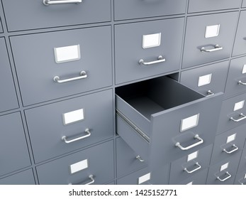 Filing Cabinet with empty drawer , 3d render