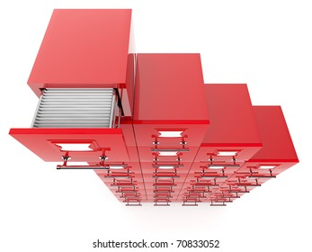 Filing cabinet isolated over white background
