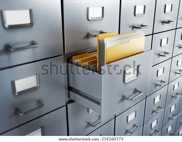 Filing cabinet with a single yellow folder in an open drawer