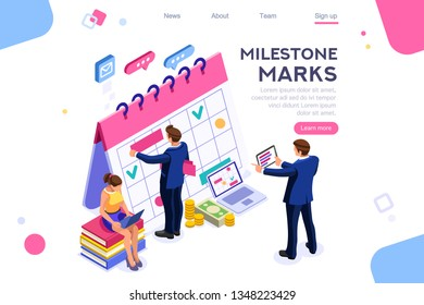 Fill calendar mark, important service organizer. Computer, can use for web banner, infographics, hero images. Flat isometric illustration isolated on white background