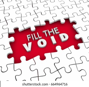 Fill the Void Puzzle Pieces Fulfillment Empty Space 3d Illustration