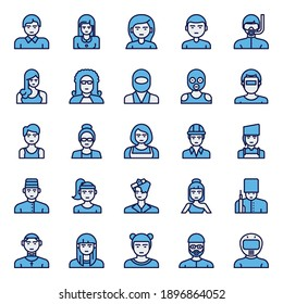 Filled blue outline icons for professions.