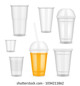 Filled and empty transparent disposable plastic cup set. Container for cold, hot drink realistic templates.