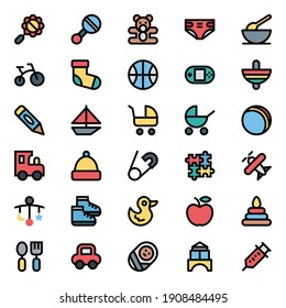 Filled outline icons for baby and kids.