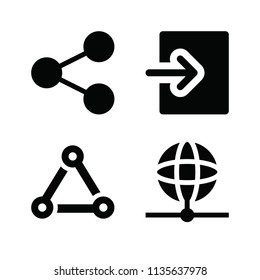 Filled set of 4 multimedia icons such as earth, login, share