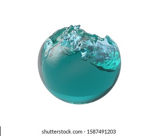 remplissage de la balle avec de l'eau bleue, illustration 3d
