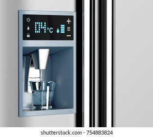 Filling glass of water from water dispenser, 3D illustration