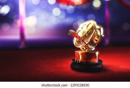 film award statue on a red carpet / 3D rendering
