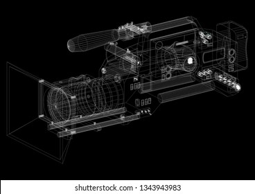 Film camera Architect blueprint  3D renderings