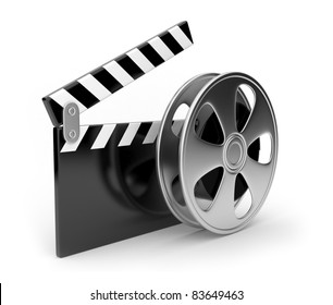 Film and  clap board movies symbol 3d. Isolated