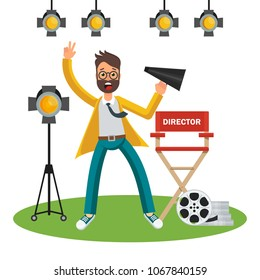 Film director on the set. Videoproduction and filmmaking. Flat cartoon illustration. Objects isolated on white background.