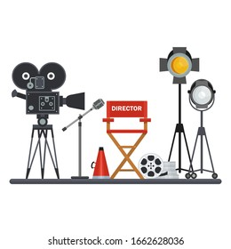 Film directors chair with megaphone, projector, camera and clapboard. Work on the set of the film. Flat cartoon illustration. Objects isolated on a white background.