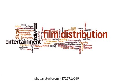 Film distribution word cloud concept on white background