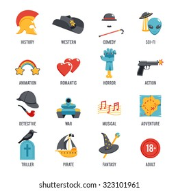 Film genres icon set with drama adventure detective pirate isolated  illustration