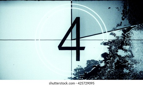 Film leader countdown frame showing the number four. High resolution illustration 10884.