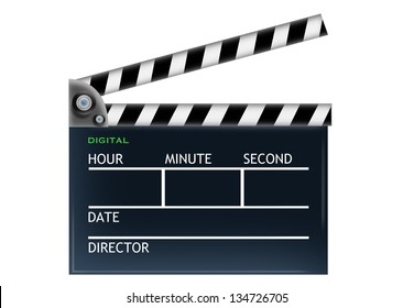 Film Production Clapper with Time, Digital, Date and Director Labels Isolated in white background