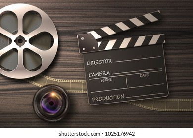 Film reel, lens and movie clapper in retro composition 3D illustration
