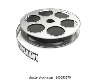 Film reel on a white background. 3d image