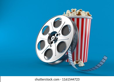 Film reel with popcorn isolated on blue background. 3d illustration