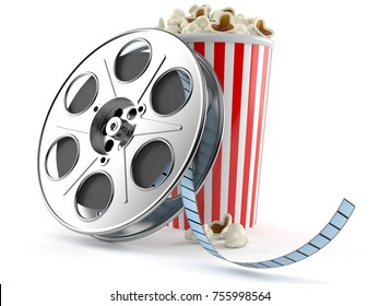 Film reel with popcorn isolated on white background. 3d illustration