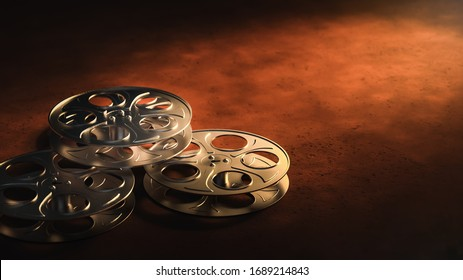 Film reels on a dark sepia background / 3D rendering, illustration