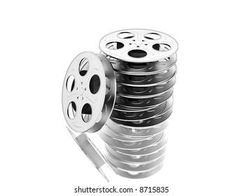 film reels over white