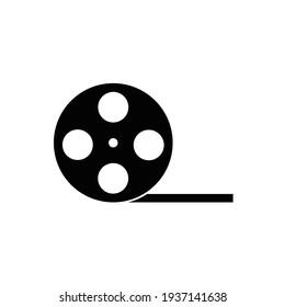 Film roll icon or video camera tape reel flat sign symbols logo illustration