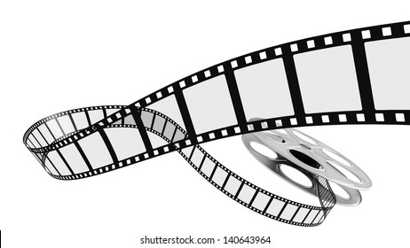Film rolling out of a film reel.