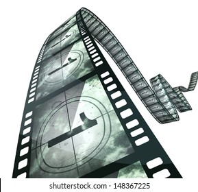 film strip countdown (clipping path and isolated on white)