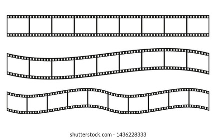 Film strip frame or border set. Photo, cinema or movie negative.