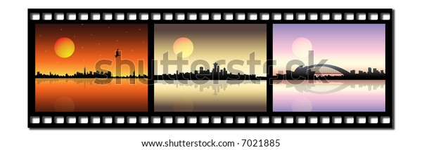 Film strip icon with city silhouette