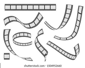 Film strip set. Cinema strip roll 35mm blank slide frame, photo video monochrome picture negative vintage media filmstrip, movie design