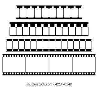 Film Strip Set Illustration on White Background. Abstract Film Strip Super 8 16 35mm design template. Film Strip Seamless Pattern.