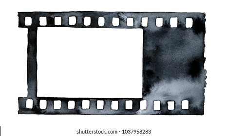 Film strip watercolour drawing. Can be used as texture, mockup, photoframe, silhouette, pattern, decor, composition element. Hand drawn water colour paint on white backdrop, cut out clip art.