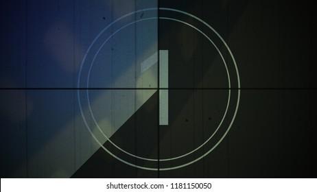 Film Vintage countdown number 1. Movie film strip with countdown number on grunge background. 2D animation old vintage film countdown retro down counter for movie start or presentation.