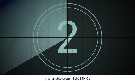 Film Vintage countdown number 2. Movie film strip with countdown number on grunge background. 2D animation old vintage film countdown retro down counter for movie start or presentation.