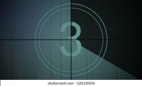 Film Vintage countdown number 3. Movie film strip with countdown number on grunge background. 2D animation old vintage film countdown retro down counter for movie start or presentation.