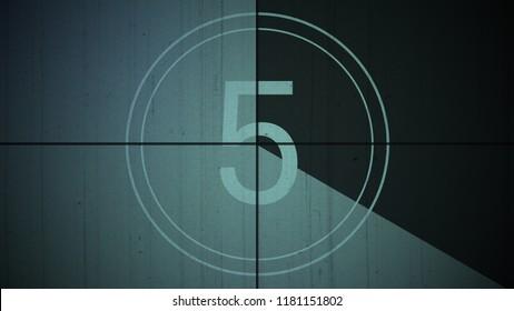 Film Vintage countdown number 5. Movie film strip with countdown number on grunge background. 2D animation old vintage film countdown retro down counter for movie start or presentation.