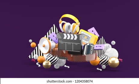 Filmstrip and clapper movies and entertainment on purple blackground.-3d rendering.