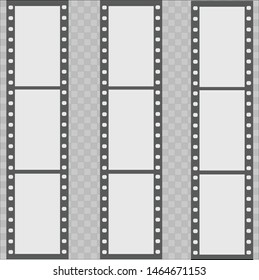Filmstrip. This illustration shows a film. Drawn three thick films in a horizontal position. The illustration itself is drawn on a chess background.