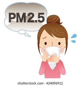 """filtering mask wear woman. air pollution """"PM2.5"""""""
